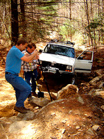 This was serious off-roading: Moving Boulders to Continue Trail