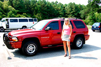 2006 07-02 Wendy with Dodge Durango at  Huntington Beach SP